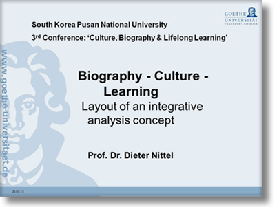 Biography - Culture - Learning Layout of an integrative analysis concept